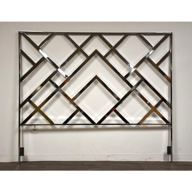 Silver Milo Baughman Style King Chrome Headboard For Sale - Image 8 of 8
