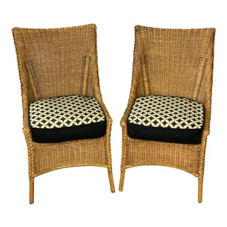 Vintage Rustic Woven Wicker Rattan Accent Chairs - a Pair For Sale