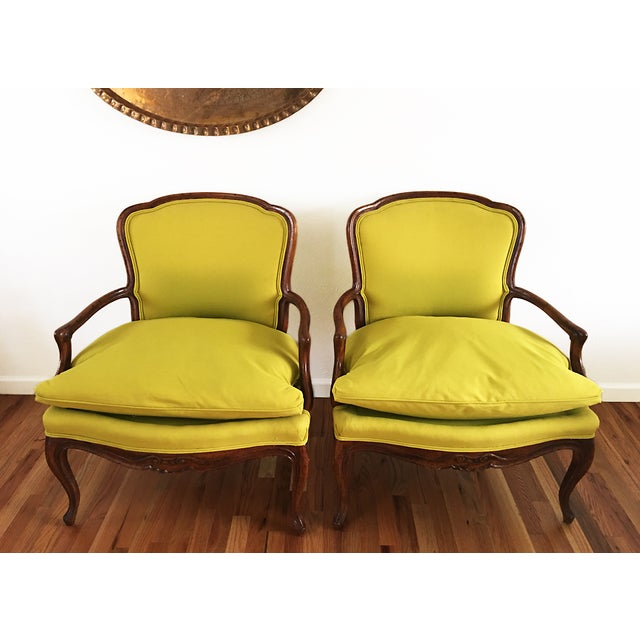 Vintage French Bergere Down Stuffed Chairs - Pair - Image 3 of 9