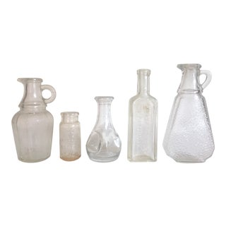 Vintage Early 1900's Clear Frosted Glass Apothecary Bottles - Set of 5 For Sale