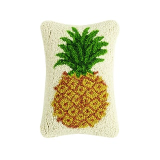 Pineapple Hooked Wool Pillow For Sale