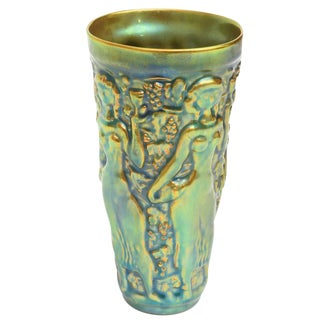 Early Zsolny Irridescent Glazed Relief Sensual Ceramic Vase or Vessel For Sale