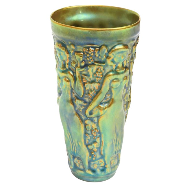 Early Zsolny Irridescent Glazed Relief Sensual Ceramic Vase or Vessel - Image 1 of 8