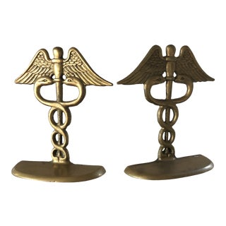 Rod of Aesculapius Brass Bookends - a Pair For Sale