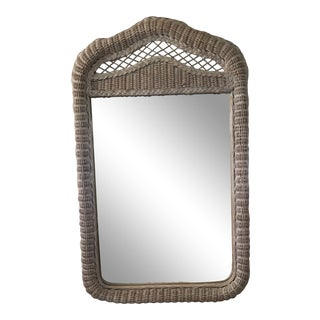 Henry Link-Lexington White/Beige Wicker Dresser Mirror For Sale