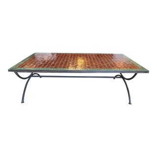 Moroccan Badia Design Tile + Metal Base Coffee Table For Sale