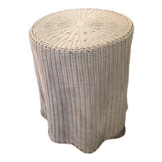 Vintage Draped Wicker Rattan Trompe L Oeil Side End Table Lacquered in Your Choice of Color For Sale