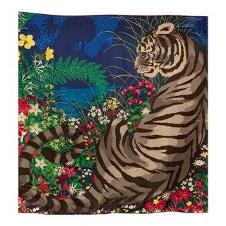 Rare Hermès Tiger Vintage Silk Scarf For Sale