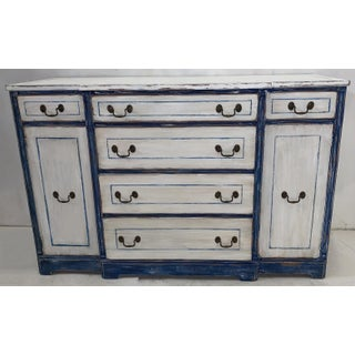 1940s Blue & White Swedish Style Painted Sideboard Preview