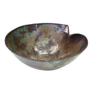 Vintage Barbara Culp Signed Blue Purple Enamel on Copper Bowl Artisan Piece For Sale