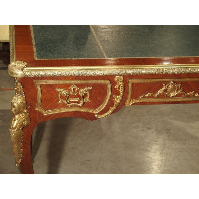 Circa 1900 French Louis XV Style Bureau Plat Writing Desk For Sale - Image 11 of 13