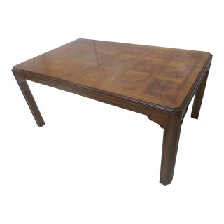 Drexel Burl Walnut Parquetry Dining Table