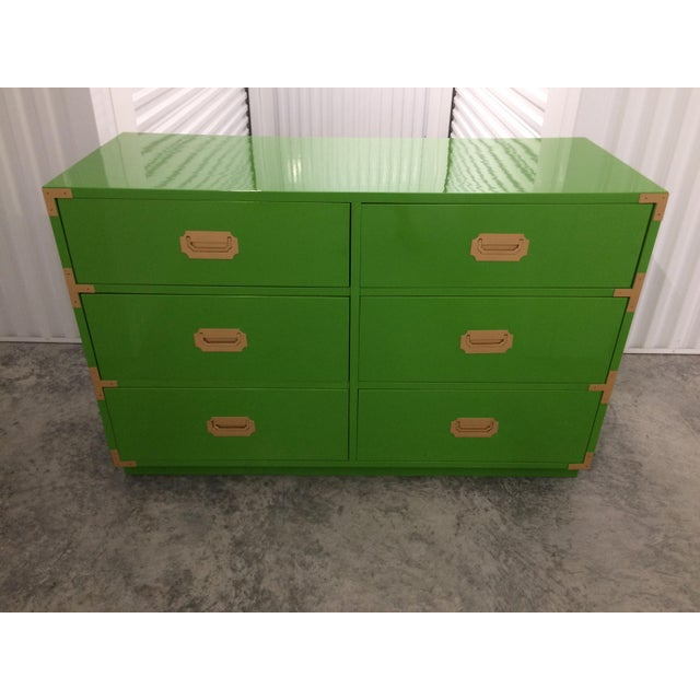 Dixie Campaign Dynasty Green Lacquered Dresser - Image 6 of 6