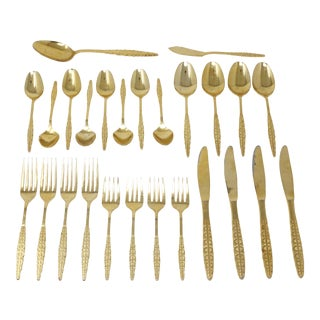 Vintage 24k Gold Plated Flatware by New Apollo - Set of 26 For Sale