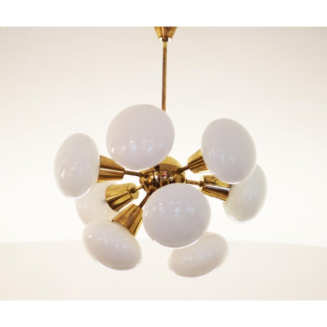Mid-Century Sputnik Frosted Glass Chandelier, 1960s For Sale - Image 9 of 10