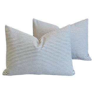 "Nautical Blue/White Ticking Feather/Down Pillows 20"" x 15"" - Pair"