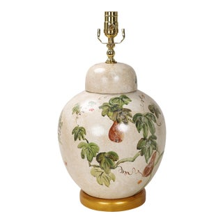 20th Century Chinese Hand Painted Jar Lamp For Sale