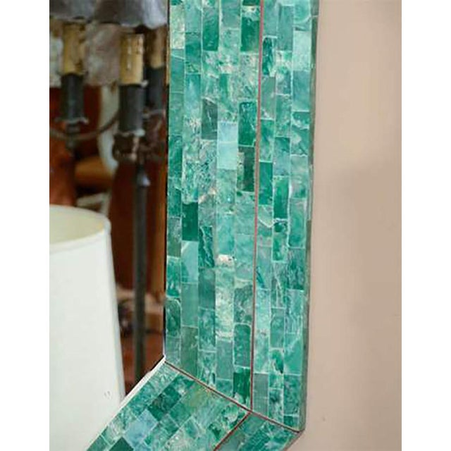 Mid-Century Modern Emerald Maitland-smith Large Tessellated Marble Mirror For Sale - Image 3 of 4