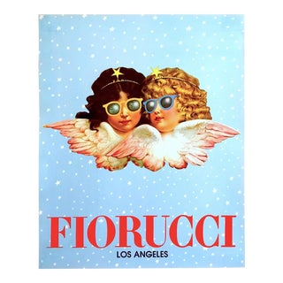 "Rare Original Vintage 1980 "" Fiorucci Los Angeles "" New Wave Post Modern Italian Fashion Pop Art Poster For Sale"