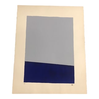 Grey & Blue Minimalist Hand Painted Serigraph 3/9 by Geoffrey Graham For Sale