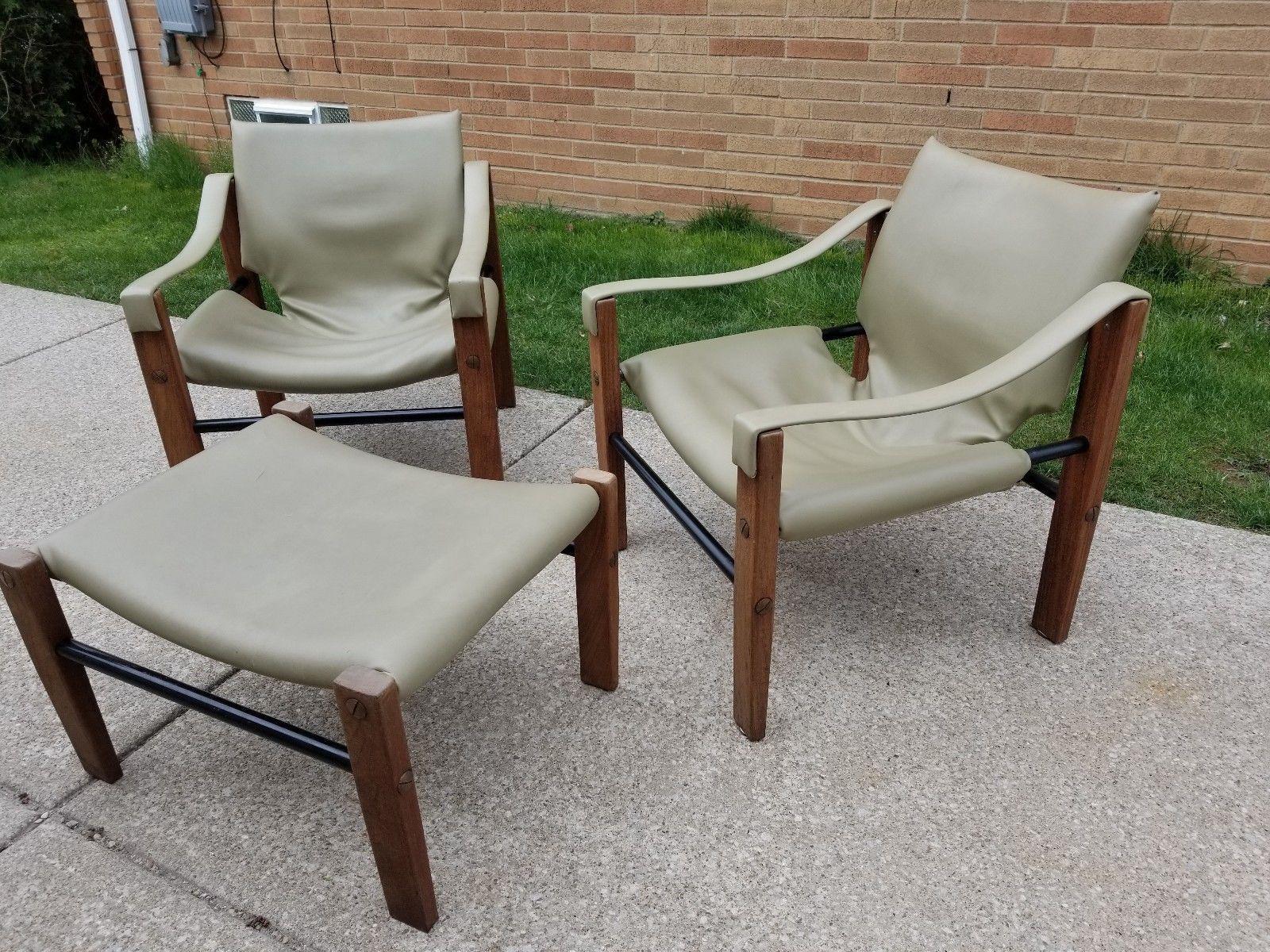 Mid Century Modern Maurice Burke For Arkana Teak Safari Chairs And Ottoman    Set Of 3