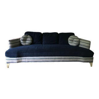 Contemporary Custom Taylor King Sofa in Clarence House Striped Chenille With Pillows For Sale