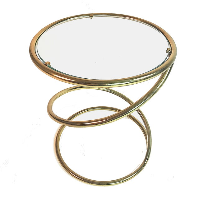 Hollywood Regency Pace Collection Brass and Glass Spring or Spiral Coffee or End Table For Sale - Image 3 of 6
