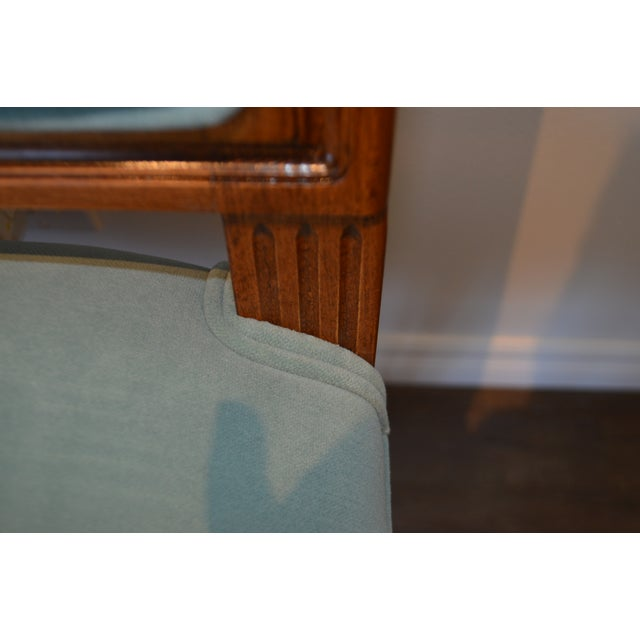 Louis XVI Custom Order Louis XVI Style Square Back Dining Chair Upholstered in Kravet's Crypton Washable Velvet For Sale - Image 3 of 11