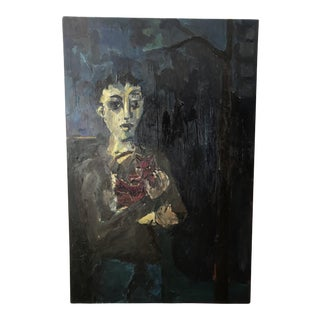 """Vintage Oversized Painting """"Man with Cat"""" by Paul Rinaldi"""