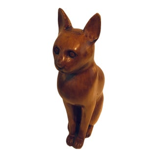 Vintage Sarreid Italy Carved Wood Cat Figurine For Sale