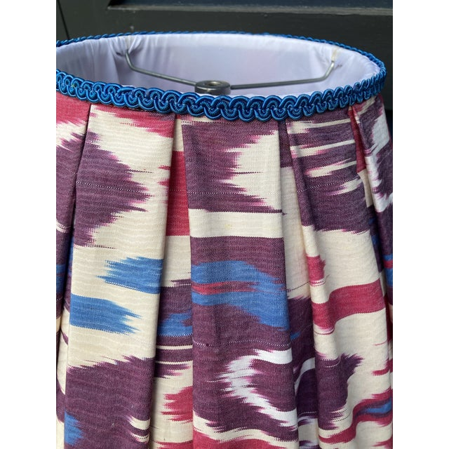 Pleated Ikat Lampshade For Sale - Image 4 of 6
