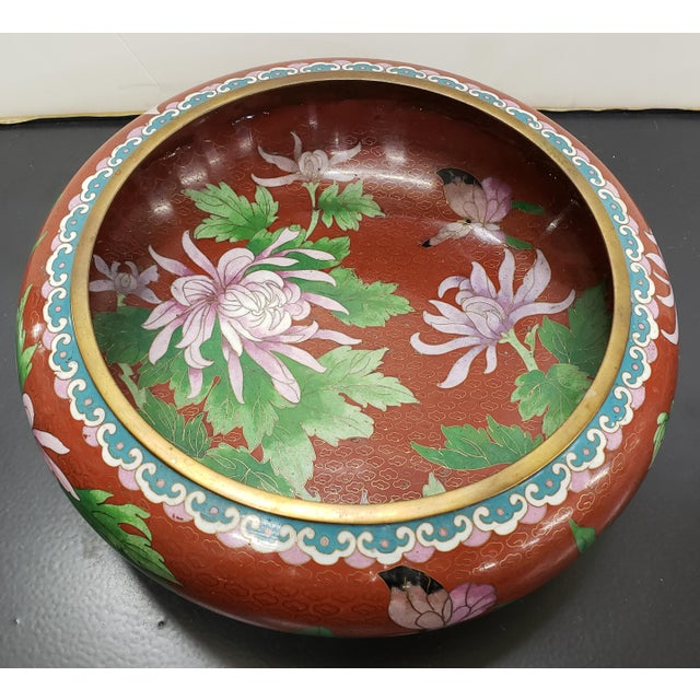 Up for sale is a Vintage Circa 1970 Chinese Cloisonne and Brass Floral/Butterfly Motifs Brush Washer Bowl! It measures 3...