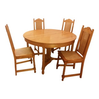 Antique Dining Table and Chairs - Set of 5