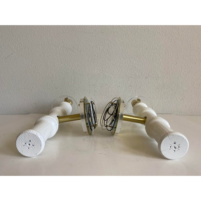 Bamboo-Style Sconces & Shades - a Pair For Sale - Image 10 of 11