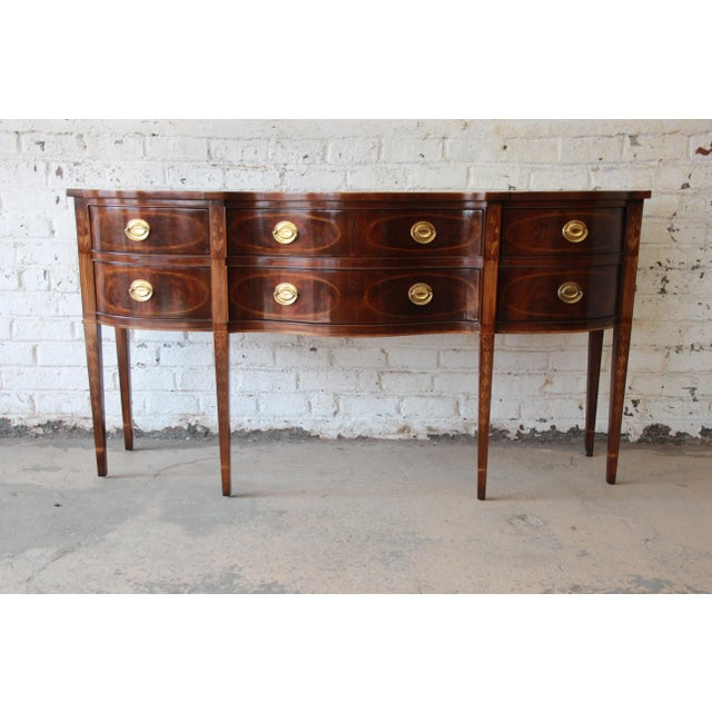 Federal Drexel Heritage Heirlooms Collection Inlaid Mahogany Sideboard For Sale - Image 3 of 11