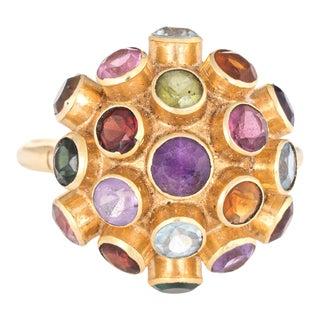 Vintage Sputnik Gemstone Dome Cocktail Ring Orb Size 6.25 For Sale