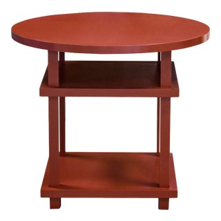 Councill Red Lacquer Round Allen Table For Sale