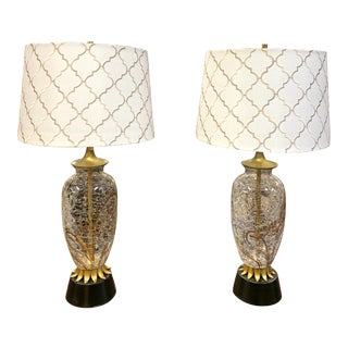 1960s Hollywood Regency Crackled Glass Lamps and Shades - a Pair For Sale