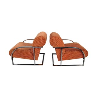 1970s Vintage Milo Baughman Style Lounge Chairs - A Pair For Sale