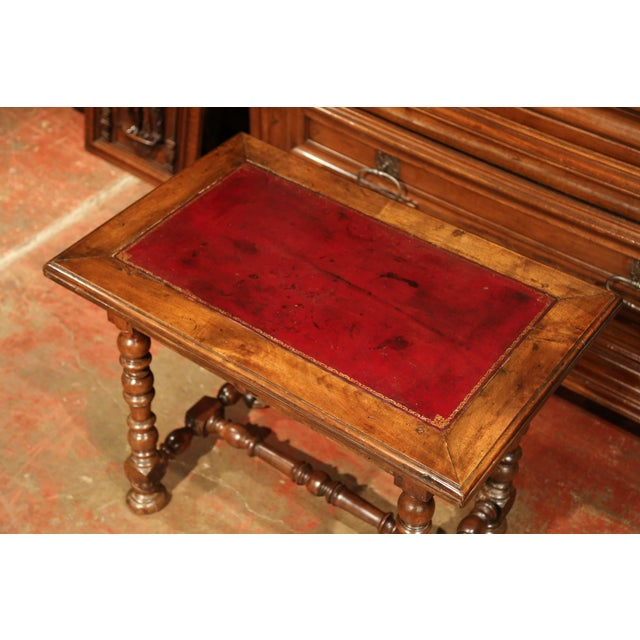 19th Century, French, Louis XIII Carved Walnut Table Desk With Red Leather Top For Sale - Image 4 of 11