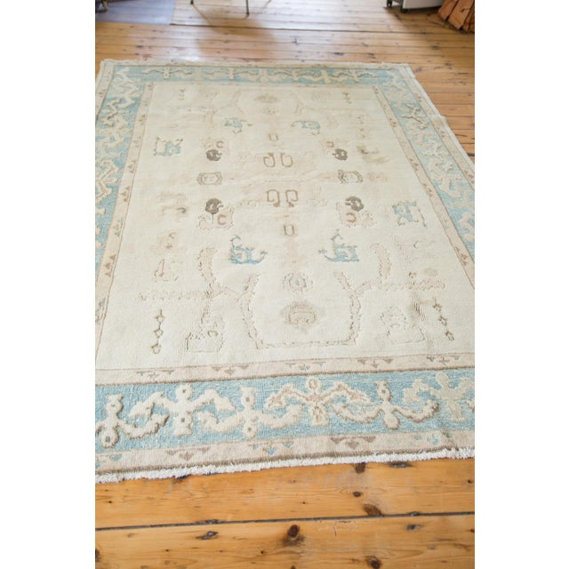 "Textile Vintage Pale Blue Oushak Carpet - 5'4"" X 8' For Sale - Image 7 of 8"