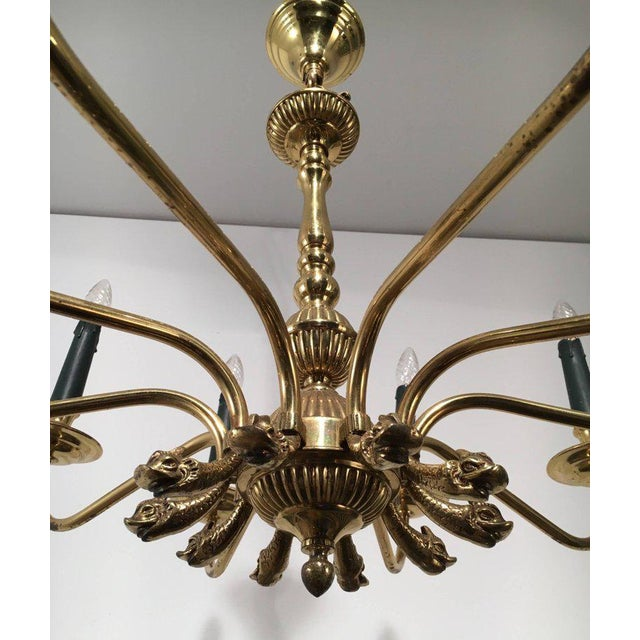 Brass Pair of Large Brass Chandeliers in the Form of Dolphin Heads For Sale - Image 7 of 11