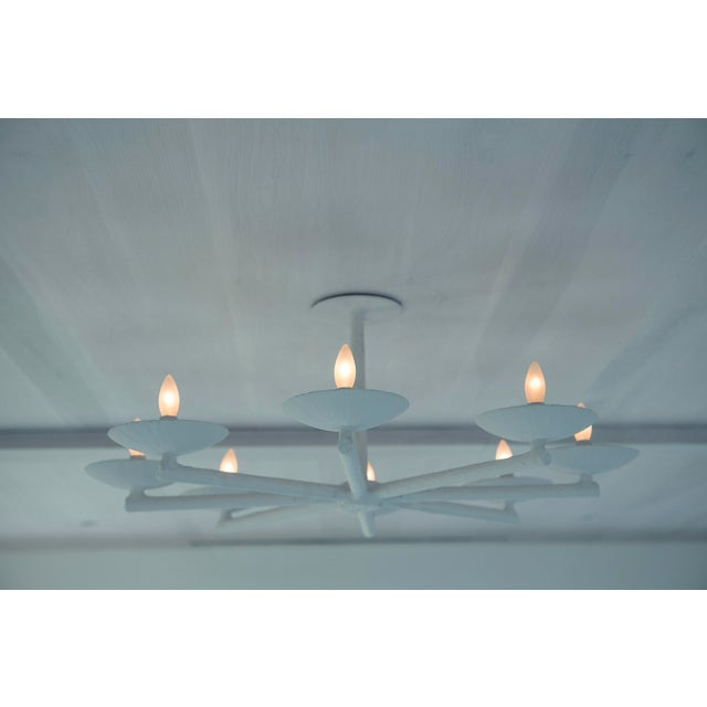 Plaster Spoke Chandelier With White Finish For Sale In New York - Image 6 of 11