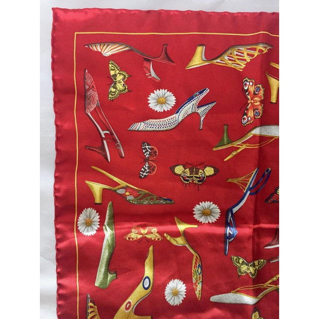 1990s 1990s Small Red Silk Scarf or Pocket Square, Shoe Motif - Salvatore Ferragamo For Sale - Image 5 of 9