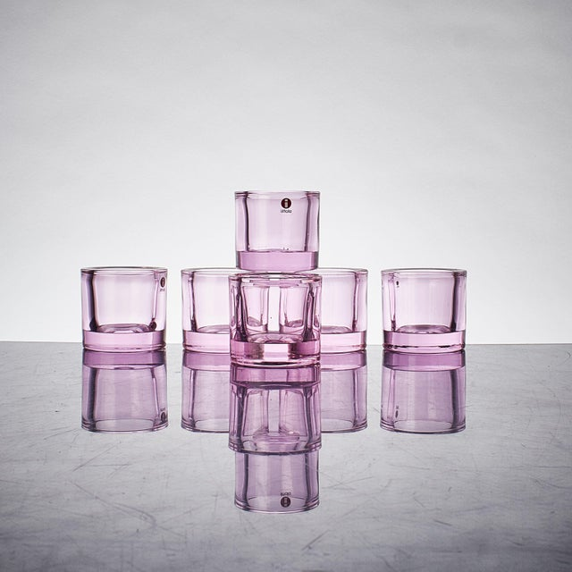 Marimekko Scandinavian 'Kivi' Votive Marimekko for Ittala Glass Candle Holders - Set of 6 For Sale - Image 4 of 4