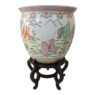 Vintage Large Chinese Fishbowl Planter With Stand For Sale