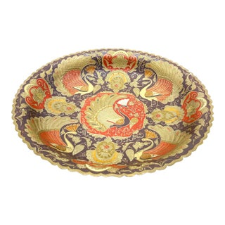 Vintage Mid Century Hand Made Enameled Brass Bowl With Intricate, Vibrant Peacock Motifs For Sale
