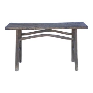 Rustic Elm Wood Console / Altar Table With Curved Stretchers For Sale