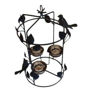 20th Century Boho Chic Bird Cage Iron Candelabra