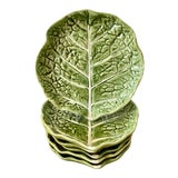 Image of Mid 20th Century Green Cabbage Leaf Plates Portugal - Set of 6 For Sale